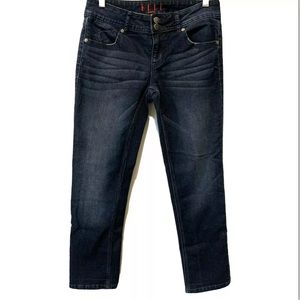 Elle Dark Wash Straight Leg Double Button Jeans